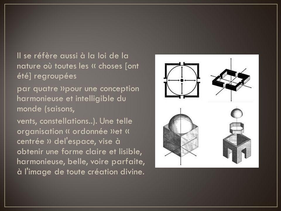Il se réfère aussi à la loi de la nature où toutes les « choses [ont été] regroupées par quatre »pour une conception harmonieuse et intelligible du monde (saisons, vents, constellations..).